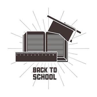 Icono de gorra de graduación de regla de libro