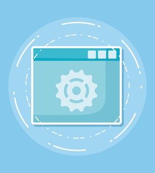 Icono de la interfaz web sobre fondo azul