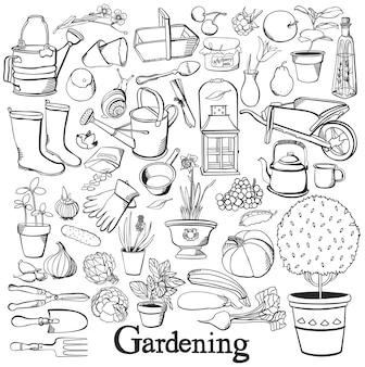 Icono de la línea de jardinería conjunto de la doodle de jardinería