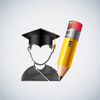 Icono de lápiz y estudiante