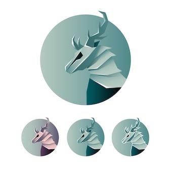 Icono de logotipo abstracto de venado minimalista