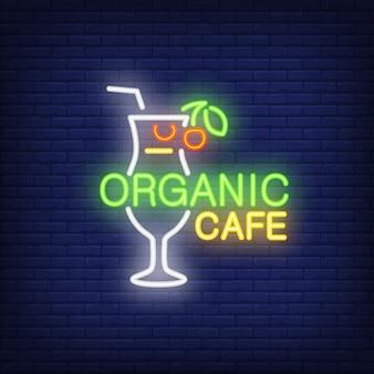 Icono de neón de café orgánico