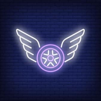 Icono de neón de la rueda voladora