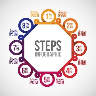 Icono de pasos. tema de información y opciones de datos de infografía. diseño colorido ilustración vectorial