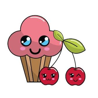 Icono de pastel de taza de cereza kawaii con bellas expresiones