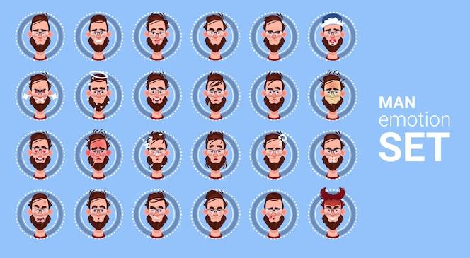 Icono de perfil male emotion different set avatar