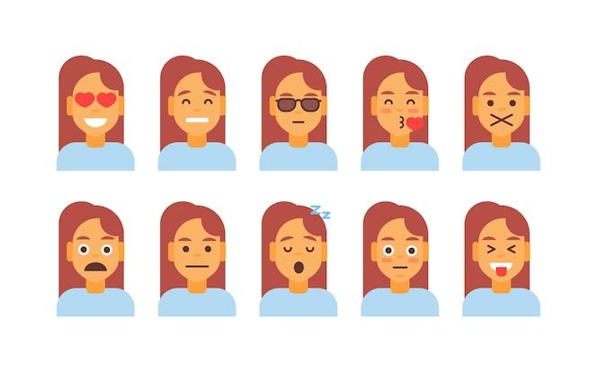 ícono de perfil mujer diferente conjunto de emociones avatar