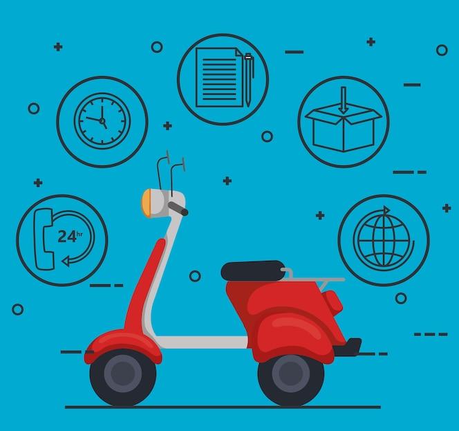 Icono de servicio de entrega de motocicleta