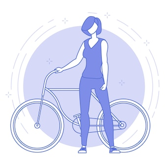 Icono de delgada línea azul de mujer joven con bicicleta.