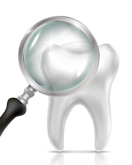 Icono de dentista realista con diente y lupa