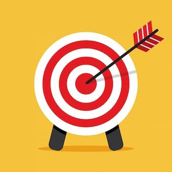 Icono de destino. flecha golpeando un objetivo. concepto de negocio.