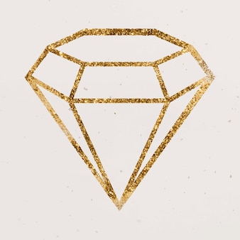 Icono de diamante de oro reluciente