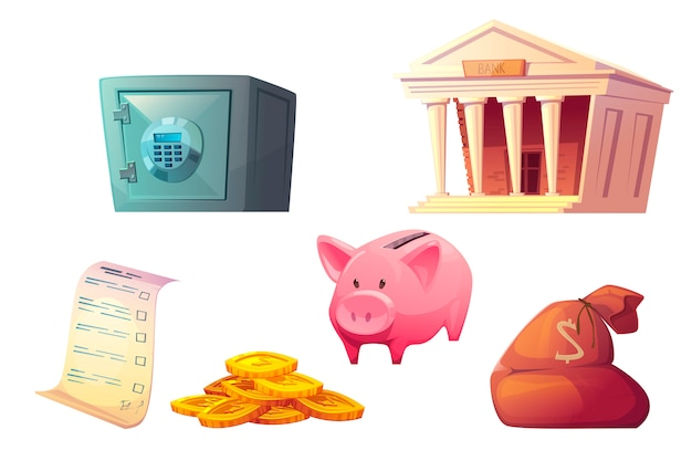 Icono de dibujos animados de ahorro de dinero, depósito seguro de hucha