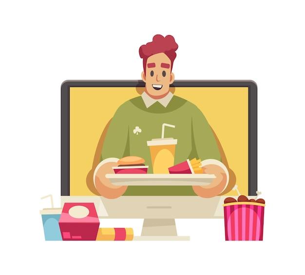 Icono de dibujos animados con blogger masculino feliz con bandeja con comida rápida