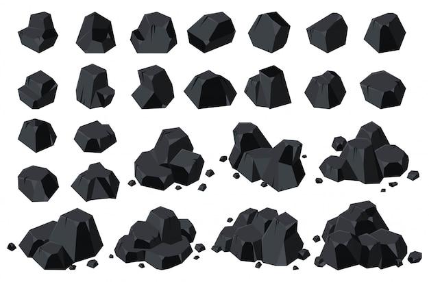 Icono de dibujos animados de carbón aislado de energía.