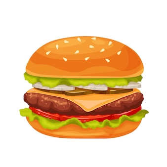 Icono de dibujos animados de hamburguesa o hamburguesa con queso
