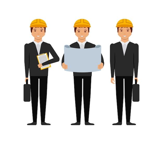 Icono de dibujos animados de hombres de ingenieros