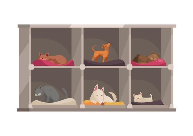 Icono de dibujos animados de hotel para mascotas con animales lindos durmiendo en camas individuales