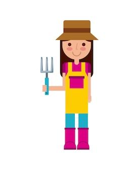 Icono de dibujos animados de mujer jardinero sobre fondo blanco