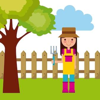 Icono de dibujos animados de mujer jardinero