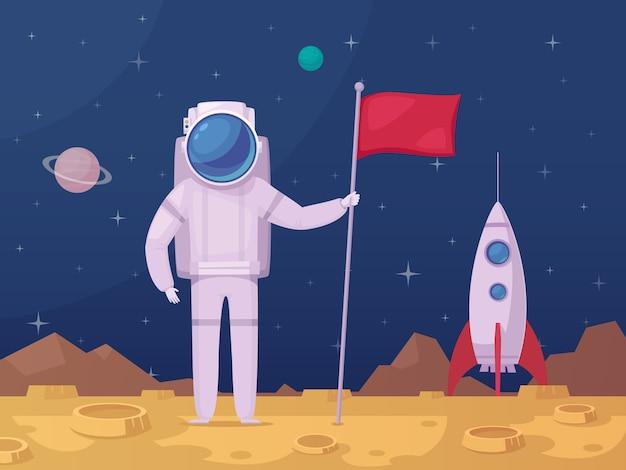 Icono de dibujos animados de superficie lunar astronauta
