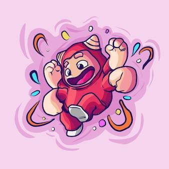 Icono de dibujos animados de vector de ilustración de mascota de héroe de cuatro manos