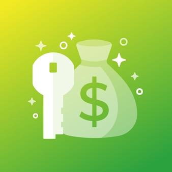 Icono de dinero clave con una bolsa, arte vectorial