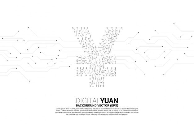 Icono de dinero de moneda de yuan digital de vector de línea de conexión de punto de estilo de placa de circuito. concepto de economía de moneda digital de china y conexión de red financiera.