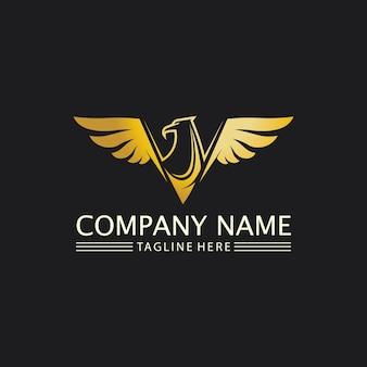 Icono de diseño de ilustración de vector de plantilla de logotipo de halcón, águila y alas