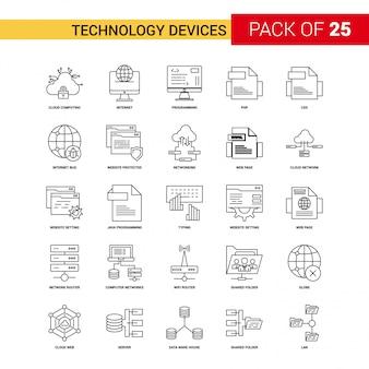 Icono de dispositivo de tecnología línea negra