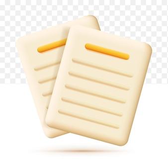 Icono de documentos. pila de hojas de papel. icono de negocio. ilustración de vector 3d sobre fondo blanco transparente