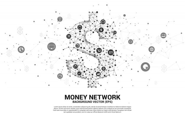 Icono de dólar de vector dinero de punto de polígono conecta línea