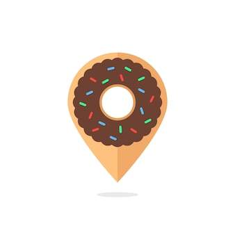 Icono de donut como pin de ubicación. concepto de donación, comida de entrega rápida, nutrición, culinaria, dieta poco saludable. aislado sobre fondo blanco. tendencia de estilo plano diseño de logotipo moderno ilustración vectorial