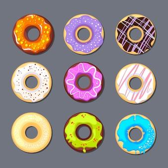 Icono de donut gran conjunto aislado