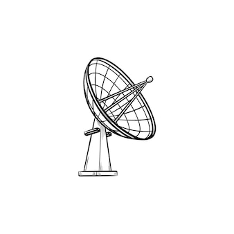 Icono de doodle de contorno dibujado de mano de antena de satélite. comunicación inalámbrica, tecnología de transmisión, concepto de radar.
