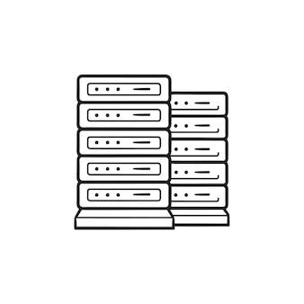 Icono de doodle de contorno dibujado de mano de bastidores de servidor. base de datos, centro de banco de datos, alojamiento web y concepto de servidor