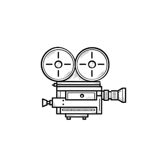 Icono de doodle de contorno dibujado de mano de cámara de vídeo retro