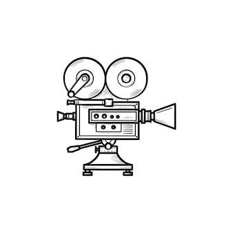 Icono de doodle de contorno dibujado de mano de cámara de video