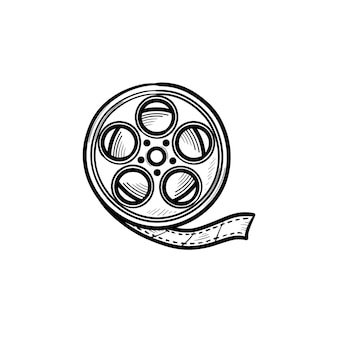 Icono de doodle de contorno dibujado de mano de carrete de cámara de película