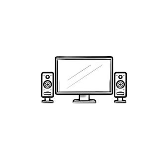 Icono de doodle de contorno dibujado de mano de cine en casa de tv. pantalla lcd con altavoces como concepto de ilustración de dibujo de vector de cine en casa para impresión, web, móvil e infografía aislado sobre fondo blanco.