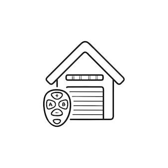 Icono de doodle de contorno dibujado de mano de control remoto de puerta de garaje. casa inteligente, concepto de desbloqueo inalámbrico automático