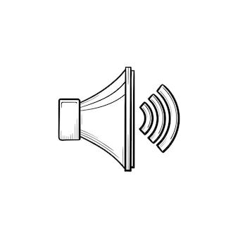 Icono de doodle de contorno dibujado de mano de control de volumen