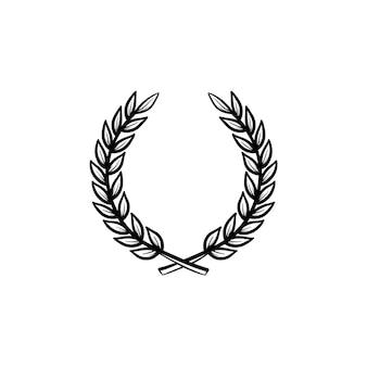 Icono de doodle de contorno dibujado de mano de corona de laurel. emblema de la universidad - ilustración de esbozo de vector de corona de laurel para impresión, web, móvil e infografía aislado sobre fondo blanco.