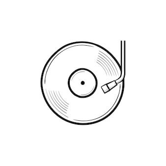 Icono de doodle de contorno dibujado de mano de fonógrafo y tocadiscos