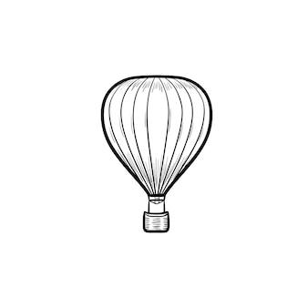 Icono de doodle de contorno dibujado de mano de globo de aire caliente