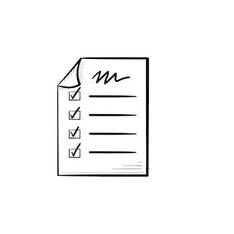Icono de doodle de contorno dibujado de mano de lista de verificación de papel. tienda de compras, compra minorista, concepto de lista de compras