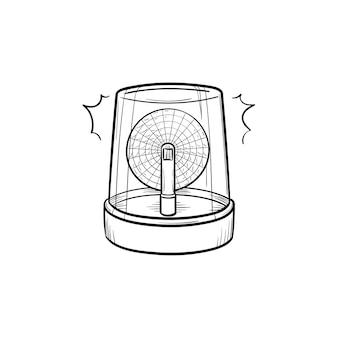 Icono de doodle de contorno dibujado de mano de luces de emergencia y sirena