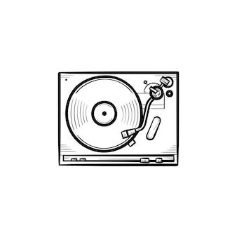 Icono de doodle de contorno dibujado de mano de mezclador de sonido de tocadiscos