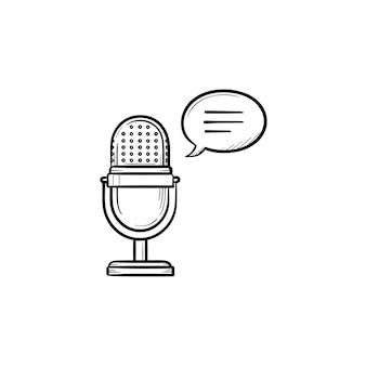 Icono de doodle de contorno dibujado de mano de micrófono de radio