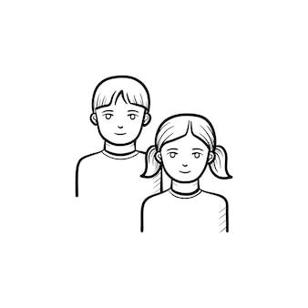 Icono de doodle de contorno dibujado de mano de niña y niño